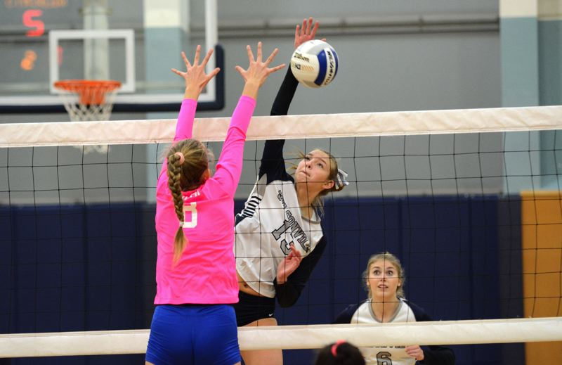 PMG PHOTO: DEREK WILEY - Wilsonville senior Lindsey Hartford had 250 kills for the Wildcats this season.