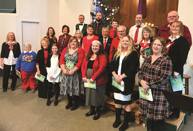 """PHOTO CONTRIBUTED DIXIE PARRIMAN  - Pictures above are the choir members for the 2018 Christmas Cantata. Last year's choir was strictly members of the Prineville Nazarene Church. This year, the group consists of four different congregations. The Multi-Church Choir will preform """"Joy, Joy, Joy"""" on Dec. 13 and Dec. 15 at Prineville Nazarene Church."""