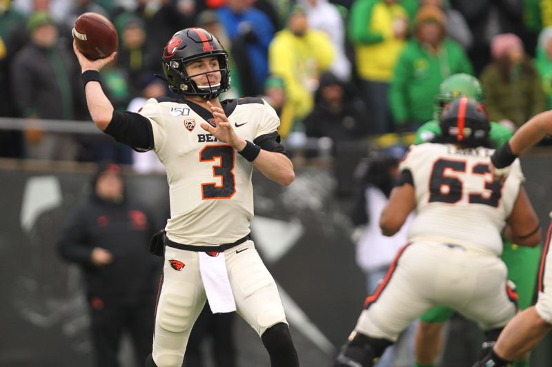 PMG PHOTO: JAIME VALDEZ - Tristan Gebbia's experience in the program, including playing in the Civil War, gives him a good foundation to compete to be OSU's QB in 2020.