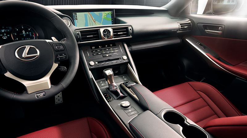 TOYOTA MOTOR NORTH AMERICA - The interior of the 2019 Lexus IS350 AWD F Sport is surprisingly old school, with a stacked dash and toggle swith to control the infotainment system.