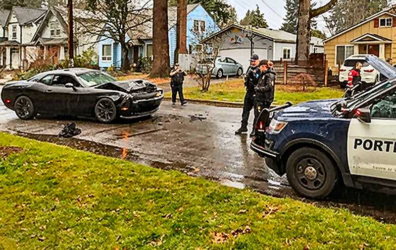 COURTESY OF KATU-TV-2 - A grocery store holdup on S.E. 122nd led to a two-day series of pursuits, ending with the suspect crashing and being arrested in the Woodstock neighborhood on December 7.
