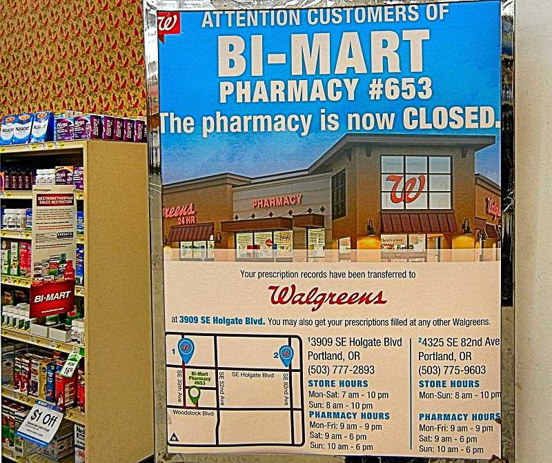ELIZABETH USSHER GROFF - The Woodstock Bi-Marts pharmacy department closed unexpectedly on November 11th.  Twelve other Bi-Mart pharmacies in the metro area were also shuttered at the same time.
