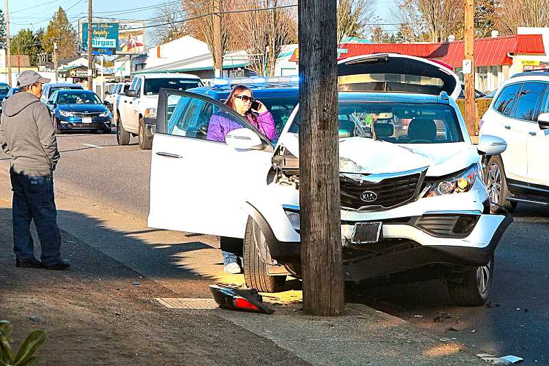 DAVID F. ASHTON - Although this Kias inadvertent collision with a power pole looked severe, no injuries were reported.
