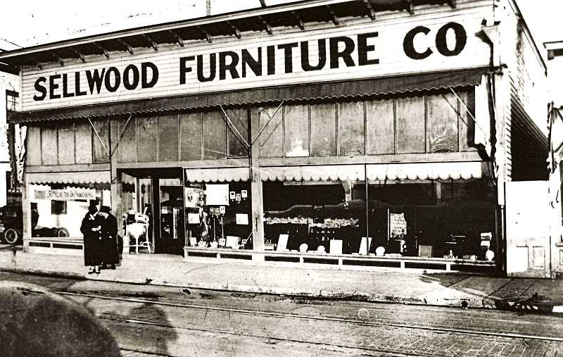 COURTESY SMILE HISTORY COMMITTEE - The Sellwood Furniture Store was built in 1910 on the Southeast corner of Tacoma and S.E. 13th. Residents celebrated the convenience. A fire in 1918 almost totally destroyed the store; the Sellwood Fire Department, only a half block away, couldnt stop the flames because of low water pressure. The store was rebuilt the following year.