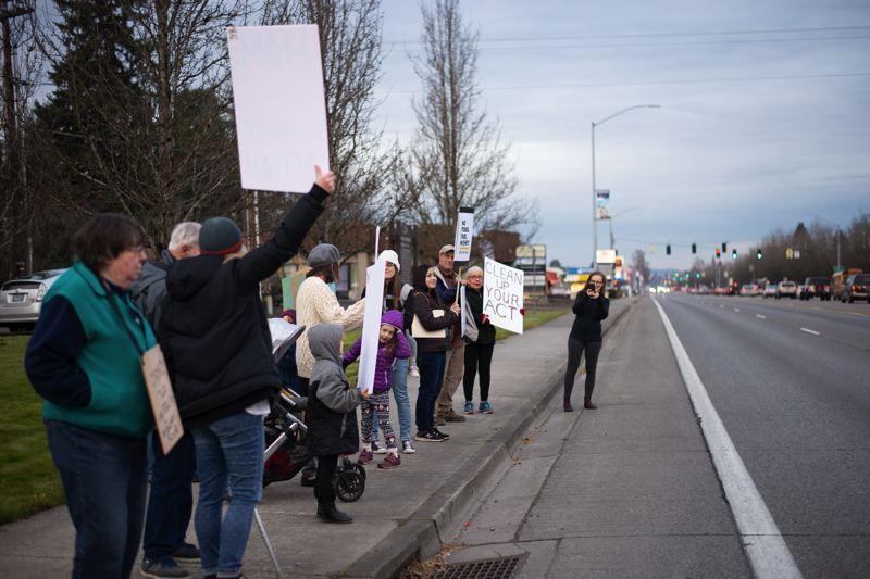 Students, parents attend climate strike in Scappoose