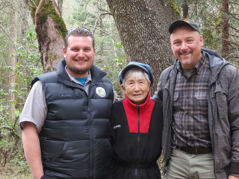 COURTESY PHOTO - Oregon resident Hideko Tamura-Snider, who survived the Hiroshima bombing on Aug. 6, 1945, brought seeds to Oregon that survived the bombing and sprouted them with help from Oregon Community Tree board member Mike Oxendine (left) and Jim Gersback of the Oregon Department of Forestry.