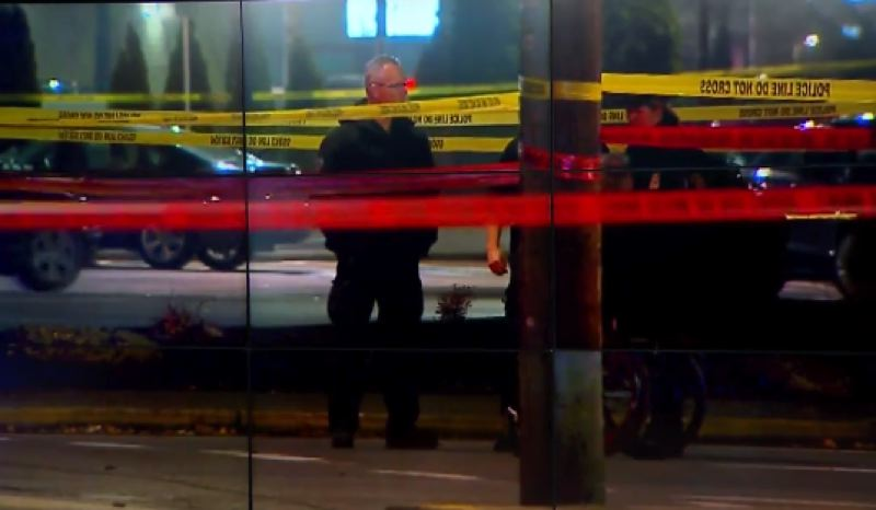KOIN 6 NEWS - Police officers on the scene of Sunday's shooting.