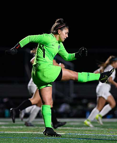PMG PHOTO: CHRISTOPHER OERTELL - Century goal keeper Ella Smith during a Jaguars game this past season. Smith was a first team all-league selection.