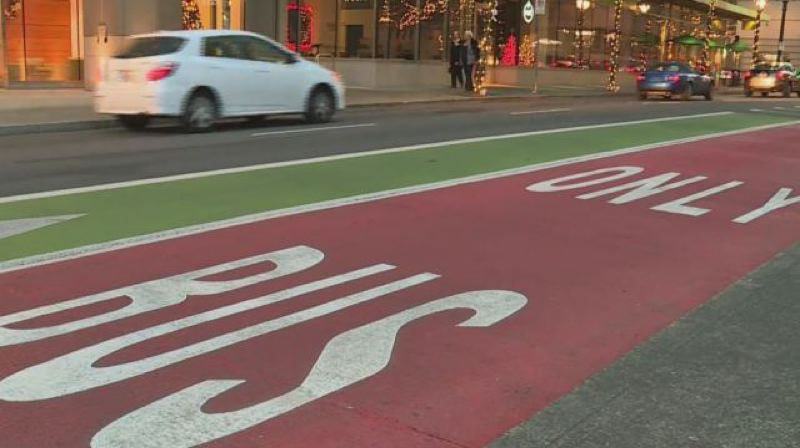 KOIN 6 NEWS - A new red bus only lane in downtown Portland.