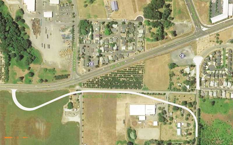RENDERING COURTESY OF ODOT - A rendering shows the realignment of the western terminus of Wilsonville Road and how it will connect with Highway 219 south of Wynooski Street.