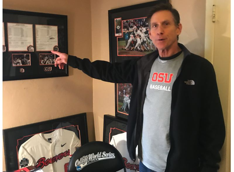PMG PHOTO: KERRY EGGERS - Former Oregon State coach Pat Casey is surrounded by memories of his successful 24 season as Beavers baseball coach