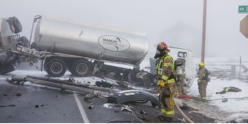 SUBMITTED PHOTO - Jefferson County Fire District No. 1 responded to a 12-vehicle crash on Highway 26 at about 8 a.m. Tuesday, Dec. 10.