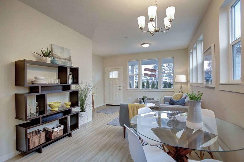 COURTESY NUHECDC - A grand room in one of the townhomes at Brunswick Commons.