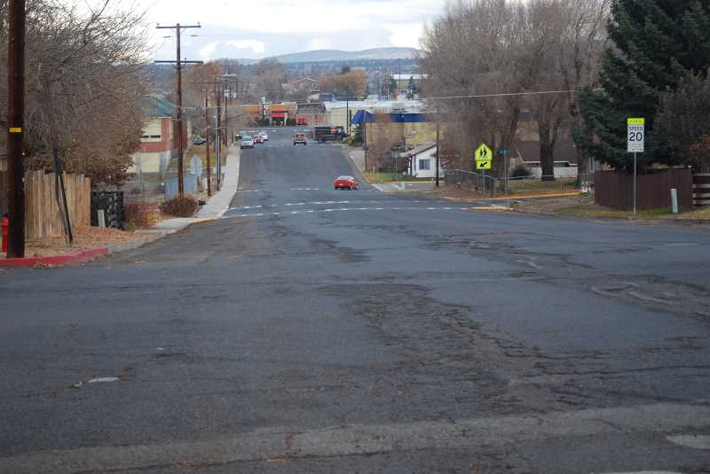 TERESA JACKSON/MADRAS PIONEER - G Street is an example of a road that needs repair, but that the city does not have the funds to fix, according to Public Works Director Jeff Hurd.