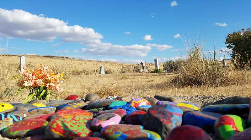 PHOTO COURTESY OF KEELIA CARVER - Max was buried at the foot of his grandmother at the family cemetery. His grave was covered with rocks that were painted at his Celebration of Life.