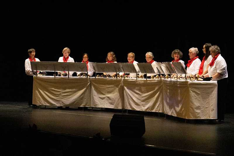 PHOTO BY JASON BLACKMAN - The Note-a-Bells play at the PAC'S annual Holiday Gala to a sold-out auditorium.