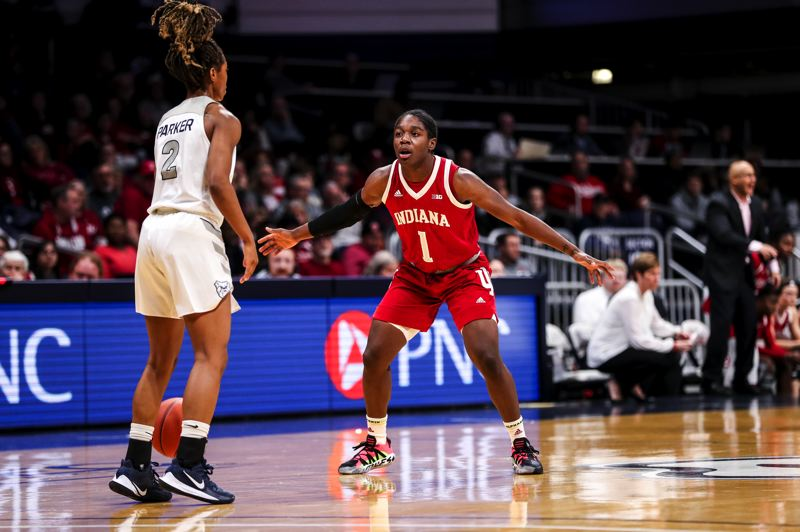 COURTESY PHOTO: INDIANA UNIVERSITY ATHLETICS - Portland native Bendu Yeaney plays defense Wednesday against Butler in her first game of the season for Indiana after recovering from an Achillles tendon injury suffered in March in a game at Oregon.