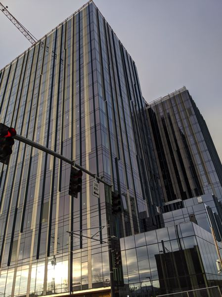 PMG PHOTO: JOSEPH GALLIVAN - 5 MLK, the 17-story tower across Burnside from YARD now has its glass skin. 5 MLK occupies the site that formerly housed Fishels Furniture, founded in 1921.