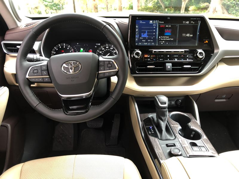 PMG PHOTO: JEFF ZURSCHMEIDE - The interior of the 2020 Toyota Highlander is thoroughly contemporary and comfortable, with upper trim levels competing against luxury crossovers.