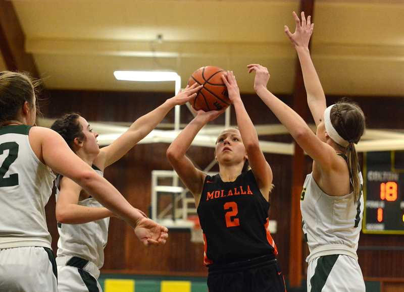 PMG PHOTO: DEREK WILEY - Molalla senior Maddy Lisac, surrounded by Colton defenders, scored 16 points Monday against Stayton.