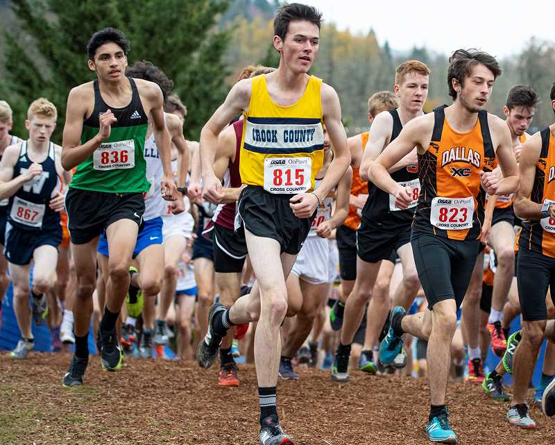 LON AUSTIN/CENTRAL OREGONIAN - Cade Catterson runs in a tight pack s aa group of runners heads up a hill ear;ly in the state meet. Catterson, a senior was the team's top finisher at the meet.