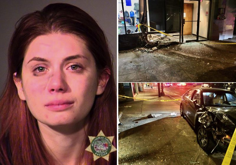 MCSO/PPB PHOTOS - Sabrina Hall, left, and photos of the crash site released by local police.