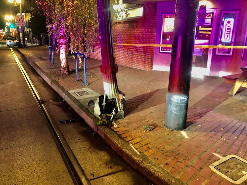 PPB PHOTO - Police said a light post was also damaged in the crash.