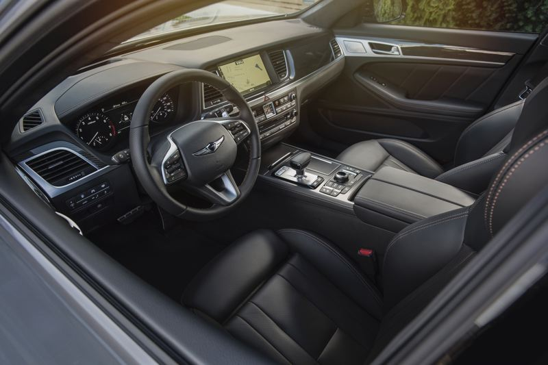 COURTESY GENESIS - The interior of the Genesis G80 AWD 3.3T Sport is suprisingly roomy and loaded with luxury and advanced technologies.