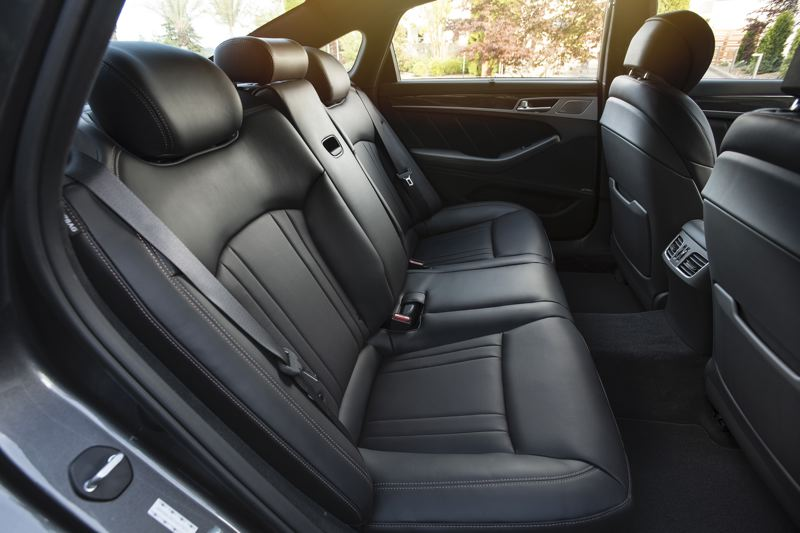 COURTESY GENESIS - Rear seat passengers ride in comforant and  style in the Genesis G80 AWD 3.3T Sport.