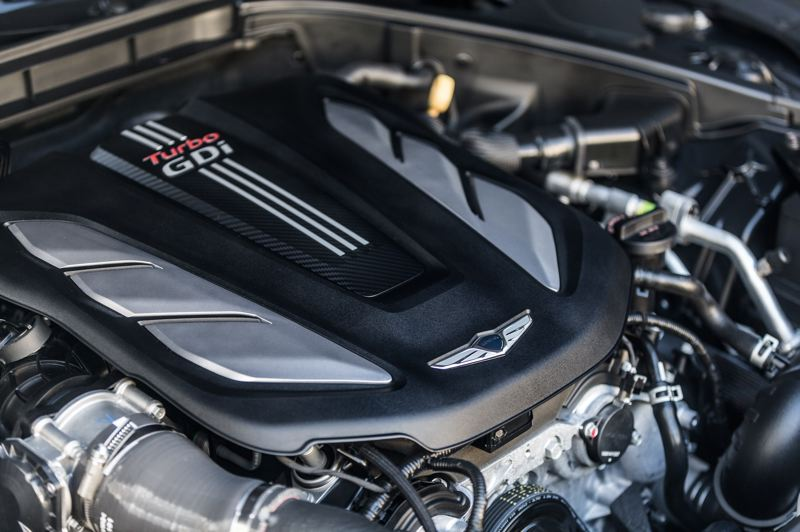 COURTESY GENESIS - The twin-turbocharged 3.3-liter V6 provides impressive power in the Genesis G80.