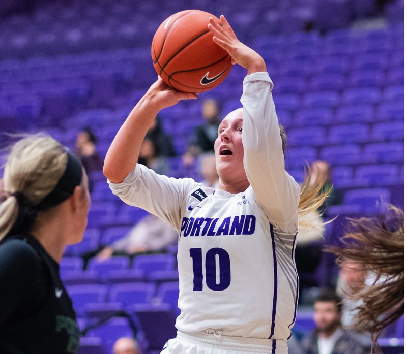 PMG PHOTO: CHRISTOPHER OERTELL - The return from injury of sophomore guard Haylee Andrews gave the Portand Pilots a lift in Sunday's loss to Portland State.