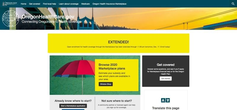 (Image is Clickable Link) PMG ILLUSTRATION - A screenshot shows the 35-hour extension granted to Oregonians who want to sign up for health insurance through the Oregon marketplace.