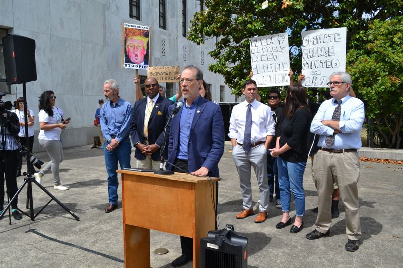 PMG FILE PHOTO - State Sen. Michael Dembrow of Portland joined a handful of other Democrats to speak at a pro-carbon emission bill rally Tuesday, June 25, outside the Capitol.