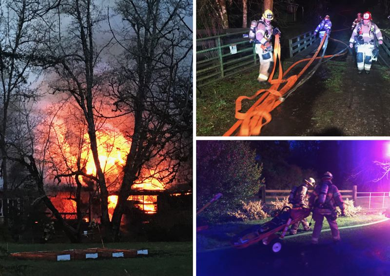 TVFR PHOTOS - Firefighters responded to a blaze on Southwest Ladd Hill Road near Sherwood on Dec. 16.