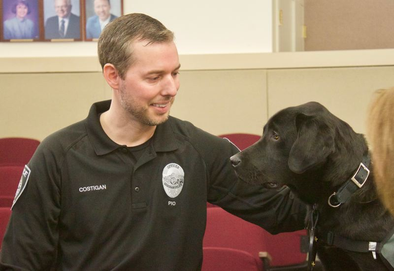 PMG PHOTO: CHRISTOPHER KEIZUR - Officer Ben Costigan will be Taggs handler during his adventure with the Gresham Police Department.