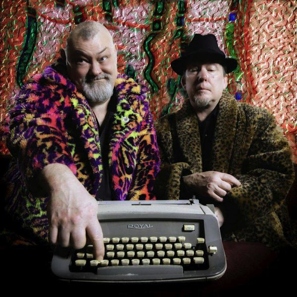 COURTESY PHOTO: GROOVY WALLPAPER - Don Henson, left, includes a manual typewriter in his multi-faceted arsenal of percussion devices when he performs with Skip vonKuske in Groovy Wallpaper.