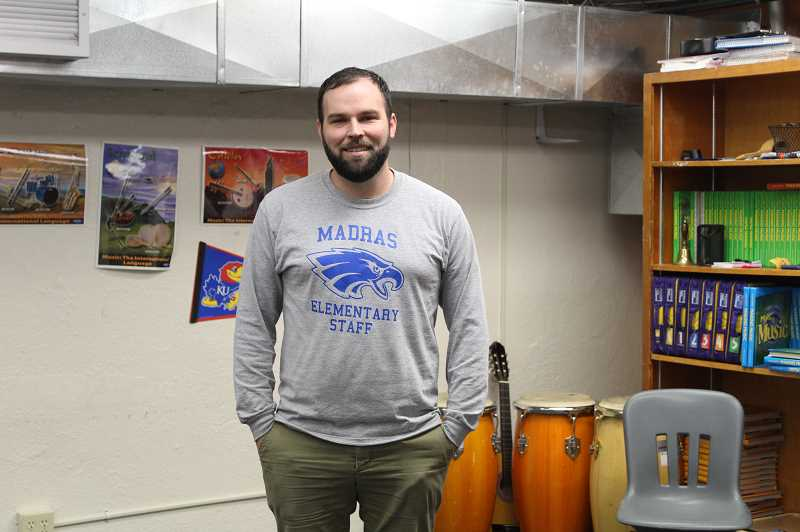 DESIREE BERGSTROM/MADRAS PIONEER - Mark Combe is the first certified music teacher that Madras Elementary has had since the mid-2000s.