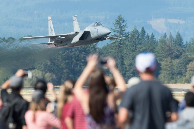 PMG PHOTO: CHRISTOPHER OERTELL - An Oregon Air National Guard F-15 takes off during the Oregon International Air Show at the Hillsboro Airport in 2017.