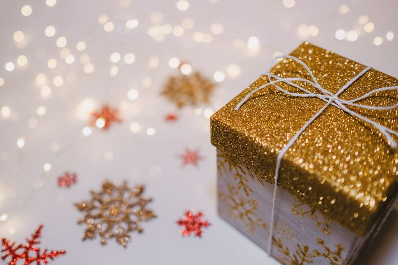 COURTESY PHOTO: FREESTOCKS.ORG FOR UNSPLASH - This is a beautiful gift, but the glitter means the box cannot be recycled.