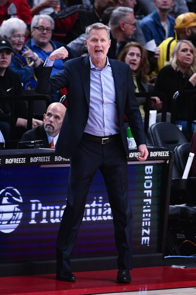 PMG PHOTO: CHRISTOPHER OERTELL - This NBA season has been a challenging one for Golden State coach Steve Kerr, whose team lost to the Blazers on Dec. 18 at Moda Center
