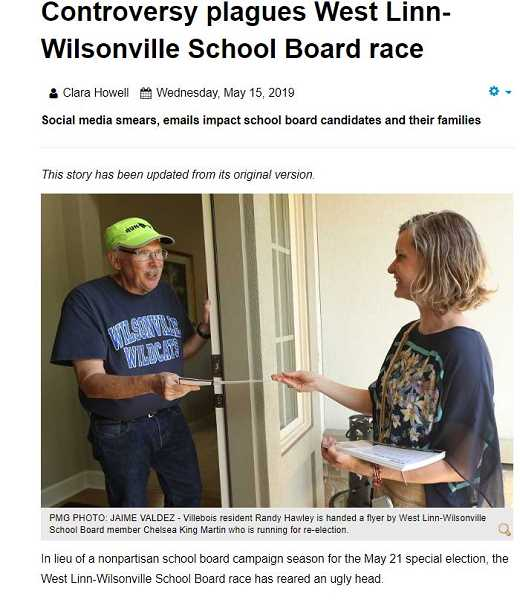 WILSONVILLE SPOKEMAN WEB - The school board race in 2019 was a rough one and a story about the campaign was our top web story.