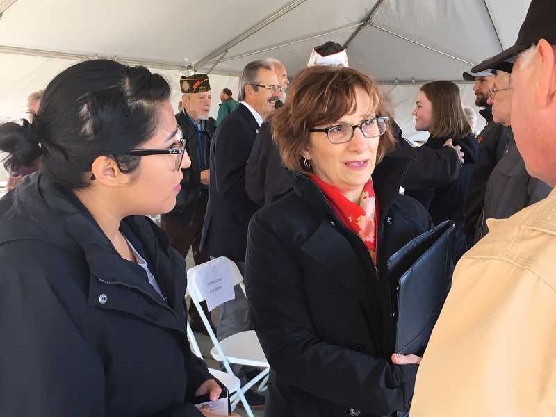 PMG PHOTO BY PETER WONG - U.S. Rep. Suzanne Bonamici, D-Ore., after she spoke at a Veterans Day ceremony Monday, Nov. 11. Bonamici was one of four Oregon representatives in Congress to vote to impeach President Trump.
