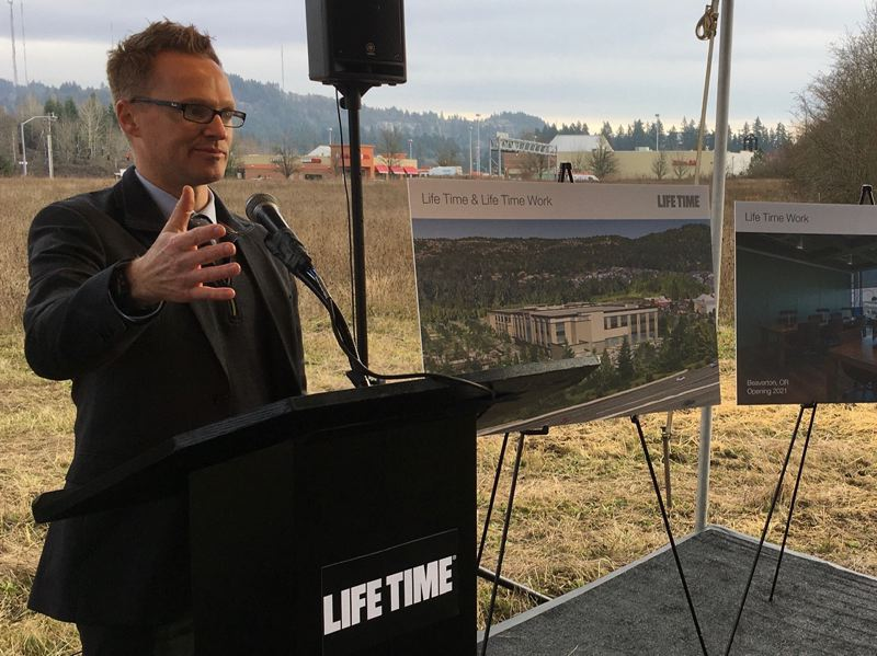 PMG PHOTO BY PETER WONG - Aaron Koehler, vice president for real estate development, speaks about the new Life Time Inc. fitness center in Beaverton at a groundbreaking Dec. 18 at Southwest Barnes Road and Cedar Hills Boulevard. The eight-acre development is scheduled for completion in fall 2021.