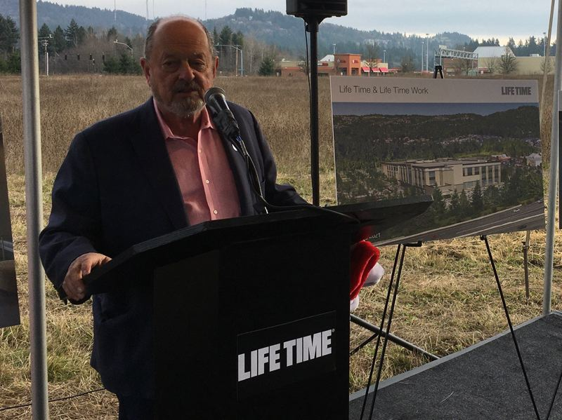 PMG PHOTO BY PETER WONG - Beaverton Mayor Denny Doyle speaks at the Dec. 18 groundbreaking for a Life Time Inc. fitness club at the southwest corner of SW Barnes Road and Cedar Hills Boulevard. Completion of the project on the eight-acre site is scheduled in fall 2021.