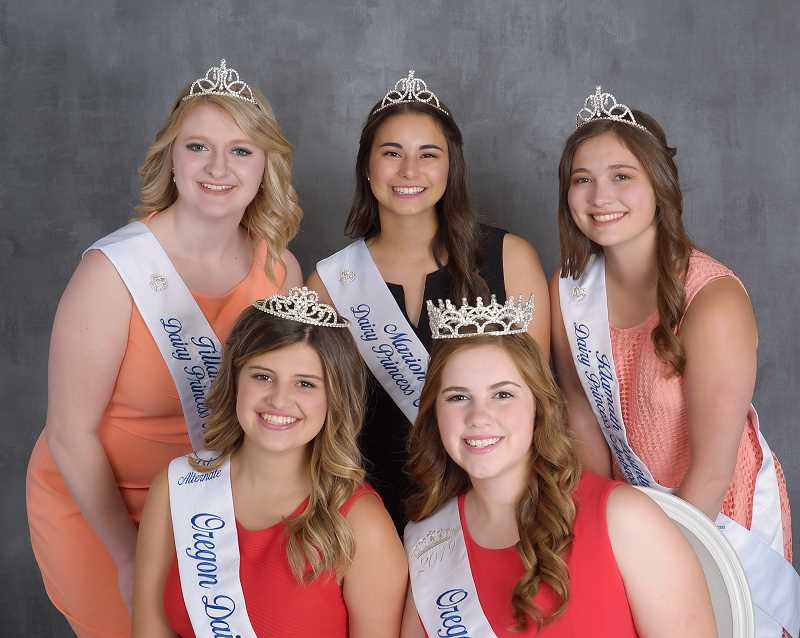 COURTESY OF OREGON DAIRY WOMEN  - Oregon dairy princesses and ambassadors: Front left to right: 2019 First Alternate Natalie Berry and 2019 Oregon Dairy Princess-Ambassador Emily HenryFront left to right: 2019 First Alternate Natalie Berry and 2019 Oregon Dairy Princess-Ambassador Emily Henry. Back left to right, 2020 Finalists Araya Wilks, Tillamook; County; Taysha Veeman, Marion County; Jaime Evers, Klamath County.  Back left to right, 2020 Finalists Araya Wilks, Tillamook County; Taysha Veeman, Marion County and Jaime Evers, Klamath County