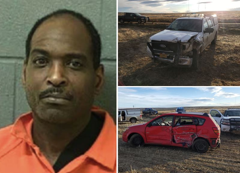 KOIN/WCSO PHOTOS - Charvell Douglas, left, and photos showing the crash between a patrol car and a red Pontiac.