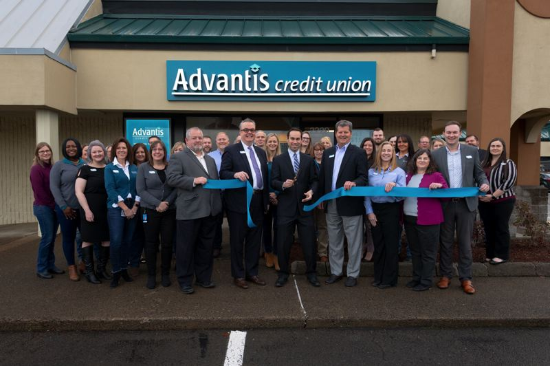 COURTESY PHOTO: ADVANTIS CREDIT UNION  - Advantis Credit Union leaders and employees cut the ribbon at the new branch on Friday, Dec. 13.