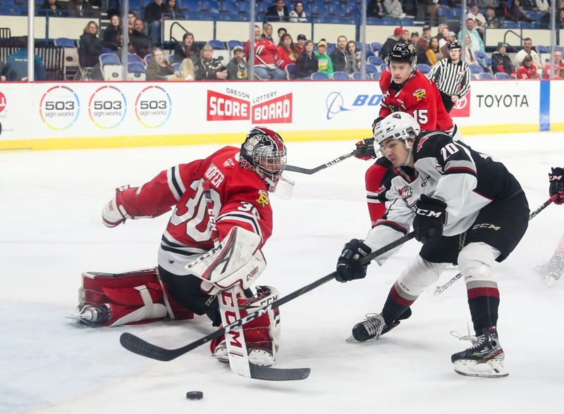 COURTESY PHOTO: KEITH DWIGGINS/PORTLAND WINTERHAWKS - Strong play from goalie Joel Hofer (30) and defenseman Johnny Ludvig (15) made the Winterhawks tough to beat in the first half of the WHL season.