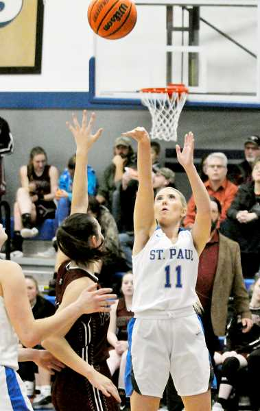 GRAPHIC PHOTO: GARY ALLEN - Senior forward Karlee Southerland played her best game of the season against Perrydale, according to SPHS coach Dave Matlock.