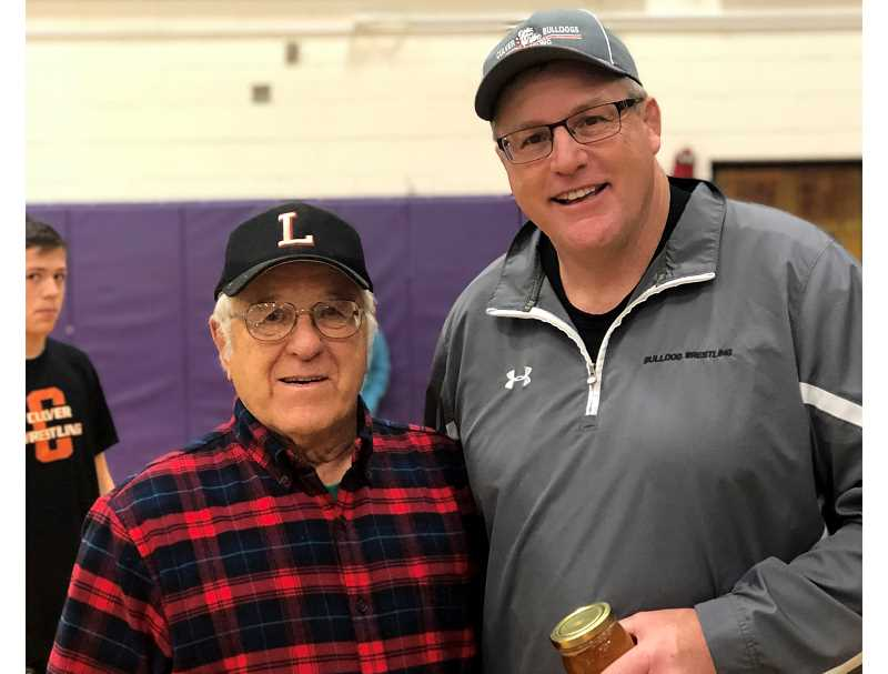 SUBMITTED PHOTO - J.D. Alley with Jerry Dilley, his idol and longtime Lowell wrestling coach.